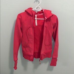 lululemon athletica pink scuba hoodie size 4.